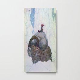 Jullbocken The Yule Goat Being Ridden By A Child  Metal Print