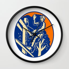 Power Lineman Electrician Post Helllo Oval Woodcut Wall Clock