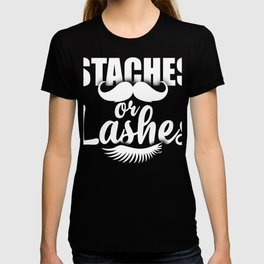 Staches Or Lashes T-Shirt Cute Pregnancy Tee T-shirt