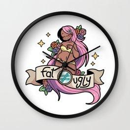 Fat ≠ Ugly (pink hair) Wall Clock