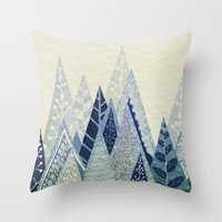 snow Throw Pillows featuring Snow Top by rskinner1122