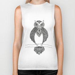 Intricate night owl doodle Biker Tank