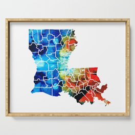 Louisiana Map - State Maps By Sharon Cummings Serving Tray