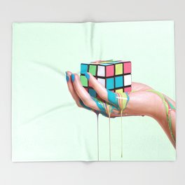 MELTING RUBIKS CUBE Throw Blanket