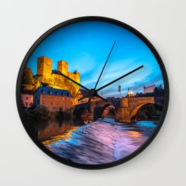 Old german Castle at night/ City: Runkel Wall Clock