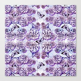 Succulent Motif and Butterfly # Purple Canvas Print