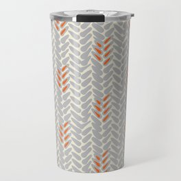 Orange and Grey Wheat Pattern Travel Mug