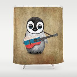 Baby Penguin Playing Russian Flag Guitar Shower Curtain