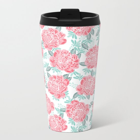 Peony flowers white pink and green trendy girly floral bouquet painted flowers botanical pattern Metal Travel Mug