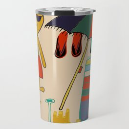 cat at the beach cream Travel Mug