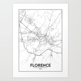 Minimal City Maps - Map Of Florence, Italy. Art Print