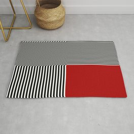 Geometric abstraction, black and white stripes, red square Rug