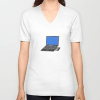 notebook V-neck T-shirts featuring LAPTOP NOTEBOOK NETBOOK by Sofia Youshi