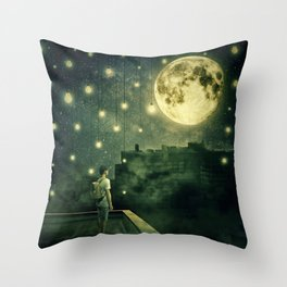 rooftops mystery night Throw Pillow
