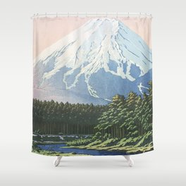 Hasui Kawase, Mount Fujiyama Seen From Oshino - Vintage Japanese Woodblock Print Art Shower Curtain