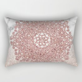 Rose gold mandala marble glitter ombre Rectangular Pillow