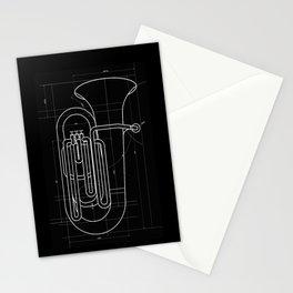 Geometric Tuba Stationery Cards