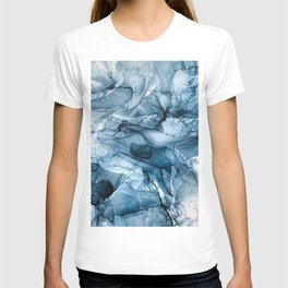 Churning Blue Ocean Waves Abstract Painting T-shirt