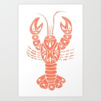 lobster Art Prints featuring Lobster by NoelleGobbi