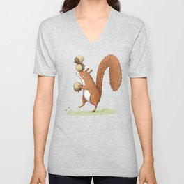 Squirrel With Acorns Unisex V-Neck