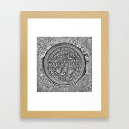 New Orleans Water Meter Louisiana Crescent City NOLA Water Board Metalwork Grey Silver Framed Art Print
