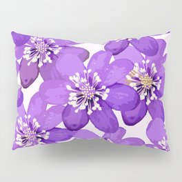 Purple wildflowers on a white background - spring atmosphere Pillow Sham