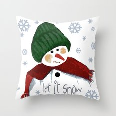 Let's build a snowman, let it snow Throw Pillow