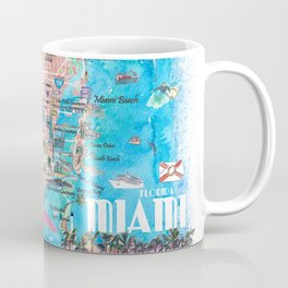 Miami Florida  Illustrated  Travel  Map  with  Roads  and  Highlights Coffee Mug