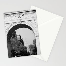 Empire State Building Through Washington Square Arch | New York City | Black and White Photography Stationery Cards