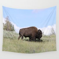 buffalo Wall Tapestries featuring American Buffalo  by Christiane W. Schulze Art and Photograph