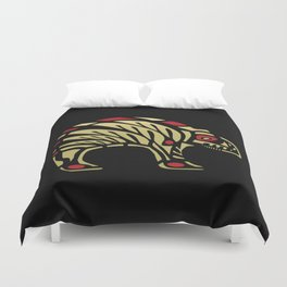 Tribal Black and Gold Bear Symbol Duvet Cover
