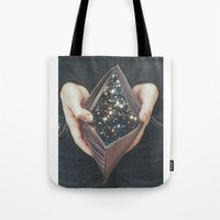 wallet Tote Bags featuring space nebula by marzesu collages
