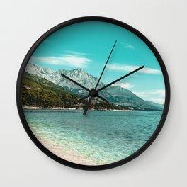 Teal Ocean Beach   Caribbean Clear Beaches Water Waves in Europe Mountain Landscape Beautiful Sky Wall Clock