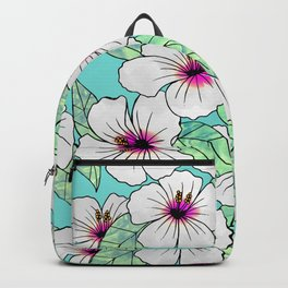 Pink & White Tropical Hibiscus Floral Pattern Backpack
