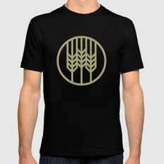 Wheat Circle Graphic Black Mens Fitted Tee LARGE