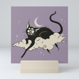 Strange Many Eyed Black Cat On Cloud With Lighting Bolt Mini Art Print