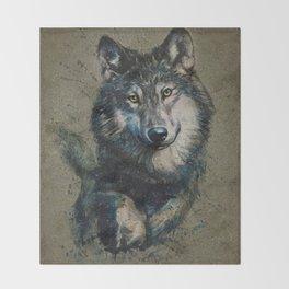 Wolf 2 background Throw Blanket