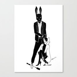 Mr Bunny and Catpurrrs lady Canvas Print