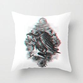 Vulture anaglyph 3D Throw Pillow