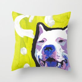 Fun Dogo Argentino Dog portrait bright colorful Pop Art Throw Pillow