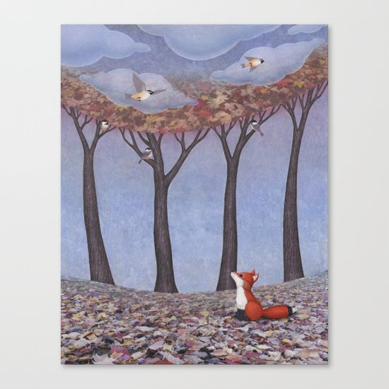 fox and chickadees Canvas Print