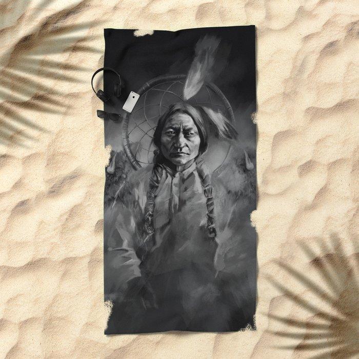 Black and white portrait-Sitting bull Beach Towel