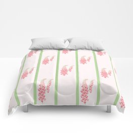 Stripes and Foxglove Pink and Green Repeat Pattern Comforters