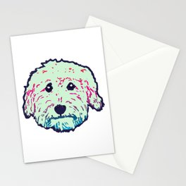 Sweet Goldedoodle dog in mint/navy Stationery Cards