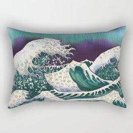 Northern Lights Ocean Waves Rectangular Pillow
