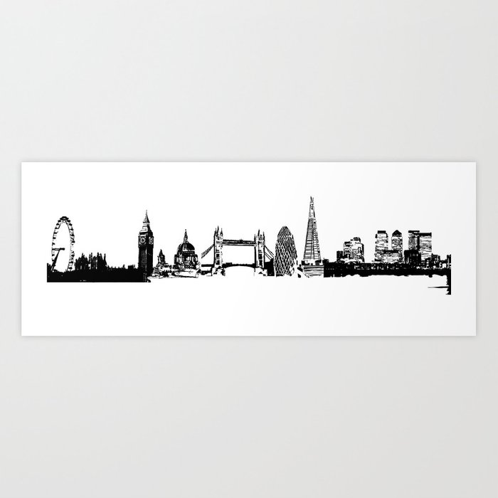 London City Skyline In Black And White Silhouette Art Print