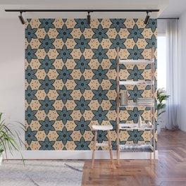 Blue Flower Kaleidoscope Pattern on Beige Background Wall Mural