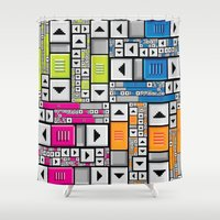 popart Shower Curtains featuring ScrollBar PopArt by Roberlan Borges