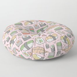 Sushi on Pink Floor Pillow