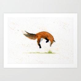Jumping Jack Fox - animal watercolor painting Art Print
